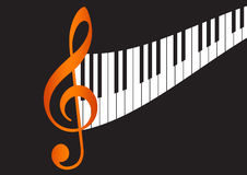 Wavy piano keyboard. And Music note in black background Royalty Free Stock Photos