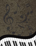 Wavy Piano Keyboard with Musical Notes Illustratio Stock Photography