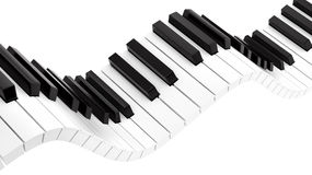 Wavy piano keyboard. Render of wavy piano keyboard , isolated on white Royalty Free Stock Photos