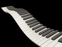Wavy piano keys. 3D render of wavy piano keys on black background Royalty Free Stock Image