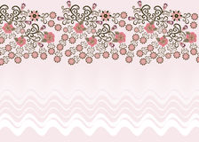 Wavy pink background with a floral border Stock Photos
