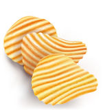 Wavy potatos chips on white background Stock Photography