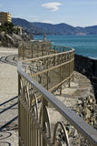 Wavy rail on the sea. A view from Genoa cost to Portofino mount stock photos
