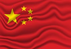 China flag. Wavy and realistic china flag isolated in white. realistic fabric effect royalty free illustration