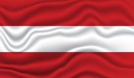 Flag of Austria. Wavy and realistic Flag of Austria isolated in white. realistic fabric effect Stock Photo