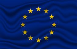 EU Europe flag. Wavy and realistic Flag of EU Europe flag  in white. realistic fabric effect Royalty Free Stock Photos