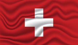 Flag of Switzerland. Wavy and realistic Flag of Switzerland isolated in white. realistic fabric effect Stock Photos