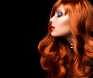 Wavy Red Hair. Fashion Girl Portrait Royalty Free Stock Photography