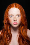 Wavy Red Hair. Golden Fashion Girl Portrait.Wavy Red Hair. Wonder royalty free stock photo