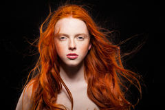 Wavy Red Hair. Golden Fashion Young Girl Portrait.Wavy Red Hair. Wonder stock photography