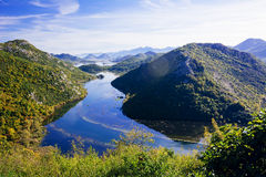 Wavy river and mountains with forest landscape Royalty Free Stock Photography