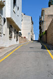 Wavy road in L'Escala, Spain Royalty Free Stock Photography