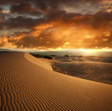 Wavy sand dune at sunset on background dramatic sky clouds Stock Images
