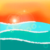 Wavy sea sunset or sunrise. RGB with global colors Stock Photo