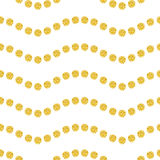 Wavy seamles pattern. Seamless pattern with bright point on white background. Wavy ornament, gold confetti, brilliant polka dot. Vector illustration, template Stock Photography