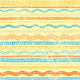 Wavy seamless pattern. Vintage old ornament. Grungy texture. Blu. E, orange and yellow colors. Ethnic and tribal motifs. Vector illustration Stock Photo