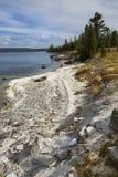 Wavy shoreline of Yellowstone Lake, with white limy beach, verti Royalty Free Stock Photos