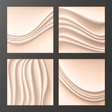 Wavy Silk Abstract Background Vector. Abstract Wavy Silk Backgrounds Set In Cream Color. Realistic Cream Wave Texture. Design Elem Royalty Free Stock Images