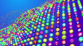 Wavy Social Mass Media Balls. A surrealistic 3d illustration of curvy colorful social mass media surface made of balls put in the blue background. They have Royalty Free Stock Photo