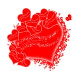 Wavy stave on a red hearts royalty free stock images
