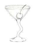 Wavy Stemmed Martini Glass with Maraschino Cherry Royalty Free Stock Images