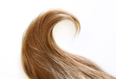 Wavy strand of blonde hair. A wavy strand of blonde hair royalty free stock photography