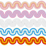 Wavy stripes of different colors. Set of vector wavy stripes. Colorful and monochrome Stock Photography