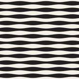 Wavy stripes vector seamless pattern. Retro wavy texture. Geometric lines monochrome design. Royalty Free Stock Photo