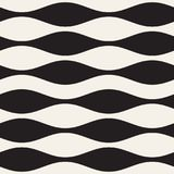 Wavy stripes vector seamless pattern. Retro wavy texture. Geometric lines monochrome design. Royalty Free Stock Photos