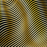 Wavy strips of golden color on a dark background. Stock Photography