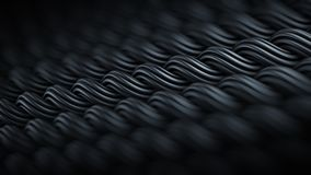 Wavy surface of black curles ornament abstract 3D rendering. Wavy surface of black curles. Computer generated ornament. Abstract 3D rendering with DOF stock illustration