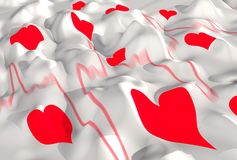 Wavy surface with hearts Royalty Free Stock Photography