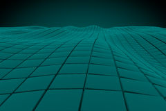 Wavy surface made of cubes. Abstract background, 3d render illustration Royalty Free Stock Image