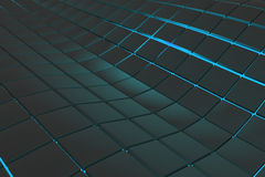 Wavy surface made of cubes with glowing background Royalty Free Stock Photos