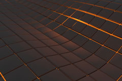 Wavy surface made of cubes with glowing background. Wavy surface made of black cubes with glowing background, abstract background, 3d render illustration Royalty Free Stock Photos