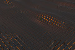 Wavy surface made of cubes with glowing background Royalty Free Stock Photo