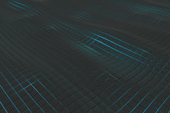 Wavy surface made of cubes with glowing background Royalty Free Stock Photography