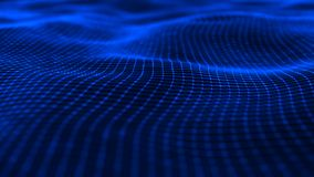 Wavy surface with many dots and lines. Abstract futuristic background. 3D rendering royalty free illustration
