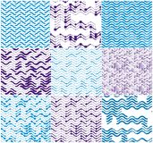 Wavy technical lines seamless patterns set. Wavy technical lines seamless patterns set, vector abstract repeat endless backgrounds collection, blue colored royalty free illustration