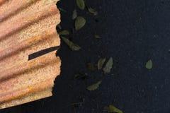 Wavy tin rusty texture closeup stock image