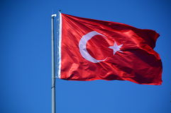 Wavy turkish flag Stock Photo
