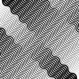 Wavy, undulating lines geometric monochrome pattern. Slanted lin. Es with waving distortion Royalty Free Stock Images