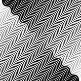 Wavy, undulating lines geometric monochrome pattern. Slanted lin. Es with waving distortion Royalty Free Stock Photos