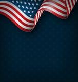 Wavy USA national flag on blue Royalty Free Stock Image