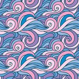Fantasy curles colorful texture. Hand drawn abstract background in colors of blue, purple and pink. Wavy vector seamless pattern. Fantasy curles colorful texture Stock Photography