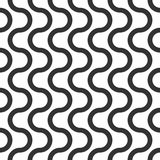 Wavy vector seamless pattern, geometric abstract background of black and white color. Modern simple wave line ornament.  Royalty Free Stock Photos