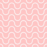 Wavy vector seamless pattern, geometric abstract background of pink and white color. Modern simple wave line ornament Stock Image