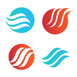 Wavy wave in round shape, red and blue feather logos. Isolated abstract decorative logo set, design element template on. White background royalty free illustration