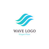 Wavy wave in round shape, red and blue feather logos. Isolated abstract decorative logo set, design element template on royalty free illustration
