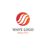 Wavy wave in round shape, red and blue feather logos. Isolated abstract decorative logo set, design element template on. White background Stock Image